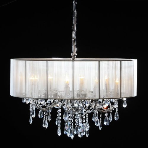 Antique French Cut Glass Chrome Chandelier with White Shade 8 arm